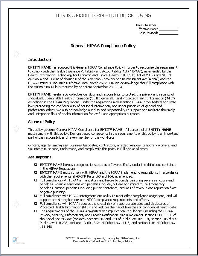 HIPAA Policy Templates for Business Associates - Click Image to Close