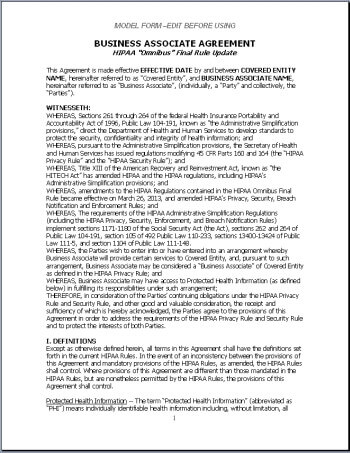 Business Associate Agreement - Model Contract
