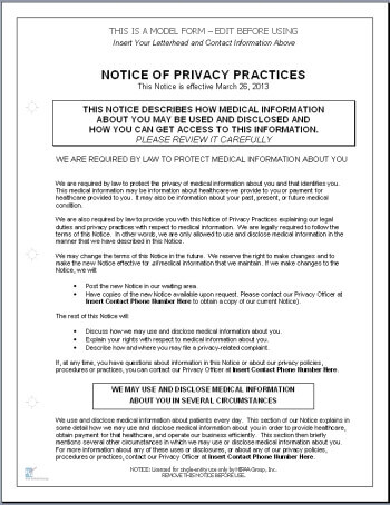 HitechCompliant Notice Of Privacy Practices Template