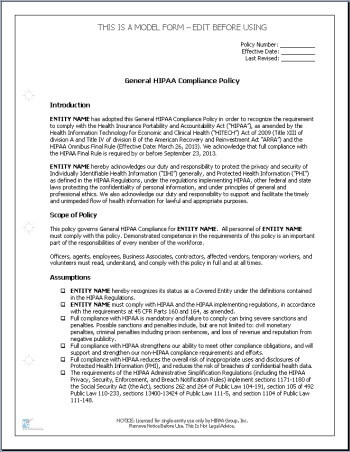 Hipaa compliance policies and procedures for Free company policies and procedures template